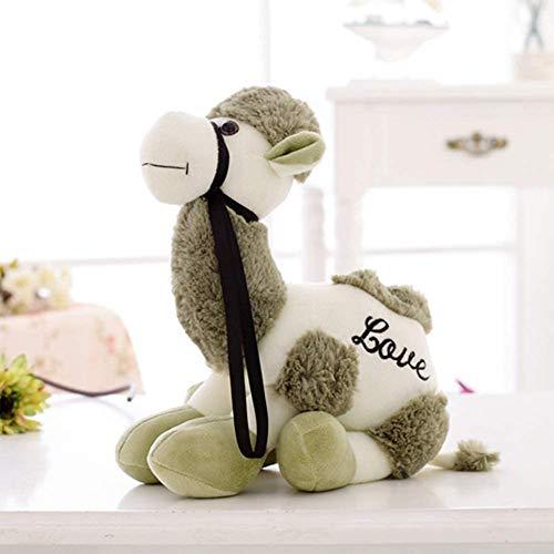 Juguetes de dibujos animados lindo camello muñeca de peluche de peluche de algodón PP para niños y niñas, juguete de bebé verde 20 cm, nombre del color: marrón claro JXNB (color: verde)