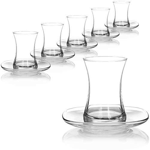 com-four® Juego de Vasos de té Turco de 12 Piezas - Vasos de té Turco con platillos - Vasos de té marroqui - Artesania marroqui
