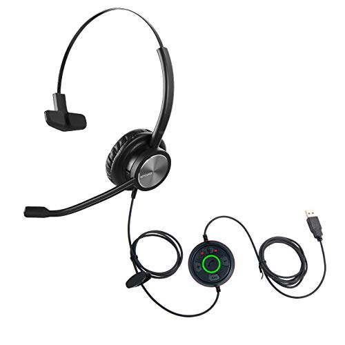 One Ear USB Headset with Microphone for PC Laptop Mic Mute Outer Ringer for Dragon Voice Recognition Dictation Wired PC Headphone for Call Centers Office Office Skype Chat Zoom Conference Calls