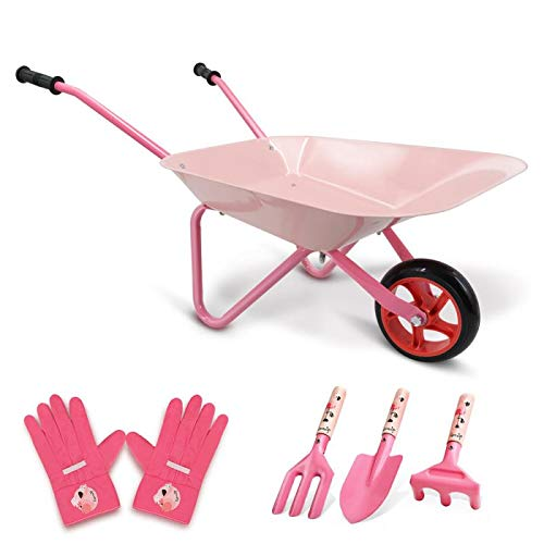 Hortem 5PCS Kids Wheelbarrow Set, Metal Construction Kids Wheel Barrel and Kids Garden Tools,Kids Gardening Glove, Gifts for Children (Pink)