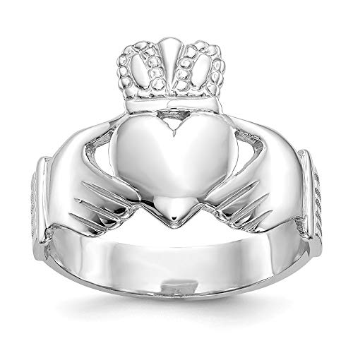 14ct White Gold Solid Polished Open back Mens Irish Claddagh Celtic Trinity Knot Ring Size R 1/2 Jewelry Gifts for Men