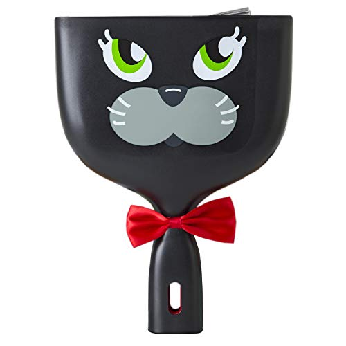 Vigar Felix Handy Set, 2-Piece Feline-Themed Dust Pan Set, Includes Brush and Pan with Ergonomic Handles and Hanging Hole, Black