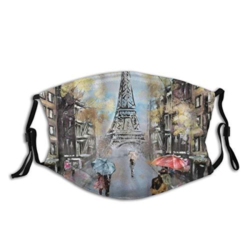 ELIENONO Paris Oil Painting Autumn Lovers Kiss On Rainy France Street Eiffel Tower Dust Face Cover Washable Reusable,Dustproof,Cycling