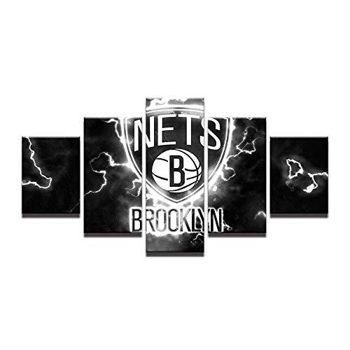GONGXIANG Painting 5 Piezas Cuadro sobre Lienzo Baloncesto NBA Brooklyn Nets Impresión Pinturas Murales Decor Dibujo con Marco Fotografía para Oficina Aniversario 80X150Cm