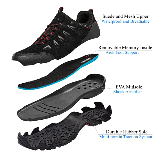 SHULOOK Men's Waterproof Hiking Shoes Lightweight Anti Slip Outdoor Ankle Boots Breathable Hike Trekking Trails Shoe Black/Red