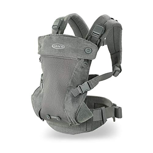 Graco Cradle Me 4 in 1 Baby Carrier | Includes Newborn Mode with No Insert Needed, Mineral Gray