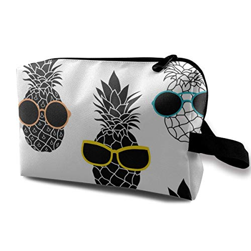 Pineapples Wearing Colorful Sunglasses Travel Cosmetic Bag,Lightweight and Convenient Personalized Custom Cosmetic Bag