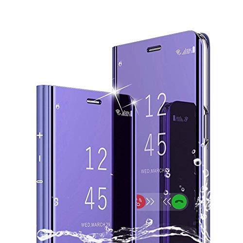 TOPOFU für LG K50S Hülle, Plating Smart Clear View Hülle Flip Handyhülle mit Standfunktion Anti-Scratch Bookstyle Tasche Schutzhülle für LG K50S-Lila