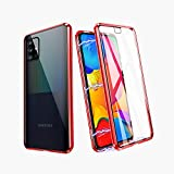 ZHIKE Samsung Galaxy A51 Case 5G,Magnetic Metal Frame Front and Back Tempered Glass Full Screen Coverage One-Piece Flip Gradient Color Cover Anti-Slip Design [Support Wireless Charging](Clear Red)
