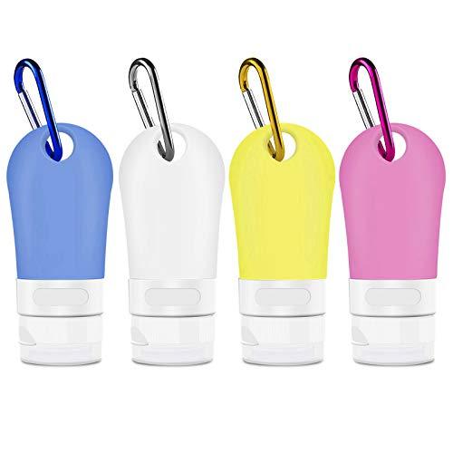 Opret Botella de Viaje 60ml Botella Recargable con Clip 4 Pack Botes Viaja de Silicona para Gel, Jabón Líquido, Champú y Loción, FDA Certified BPA Free
