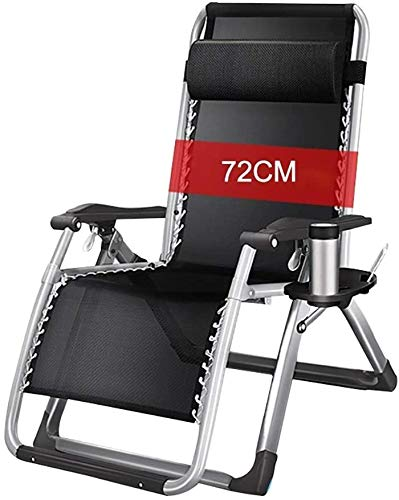 DFVV Sun loungers Sun loungers Zero Gravity Chair Foldable Adjustable Folding 72CM Lounge Chair Outside Balcony With Cup Holder And Removable Cushion To Garden Pool Beach Sun lounger