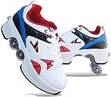 FLY FLQ Patines 4 Ruedas 2 En 1 Patines De Ruedas Deformación Multifuncionales Zapatos Patinaje En Línea Patinaje Al Aire Libre Calzado,White3-42