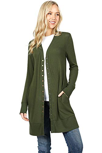 Cardigans Sweaters Long Cardigans for Women Long Sleeve Knit Snap Button Sweater-Army Green (1X)