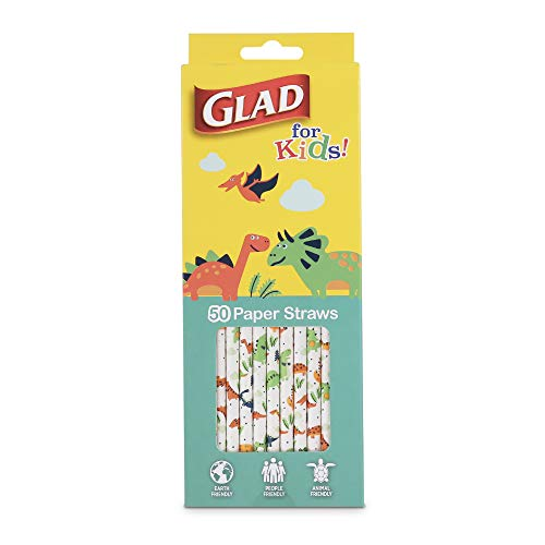 Glad for Kids Paper Straws   Dinosaur White Paper Straws with Fun Design for Kids   Biodegradable Paper Straws   Compostable Paper Straws in 50 Count  Kids Dinosaur Party Supplies, Dinosaur Straws