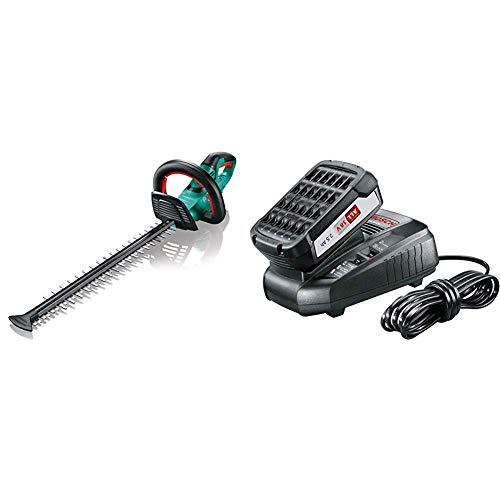 Bosch AHS 50-20 LI Tagliasiepi a Batteria, Sistema 18 Volt, Lunghezza di Taglio 50 cm, in Cartone + Bosch STARTER Kit da 18 V Batteria al Litio da 18 V con Stazione di Ricarica