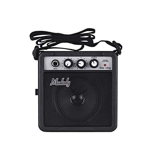 Muslady 5W Mini Altavoz Amplificador de Guitarra con Entradas de 3,5 mm y 6,35 mm Salida de 1/4 pulg. Compatible con Aajuste de Tono de Volumen Overdrive