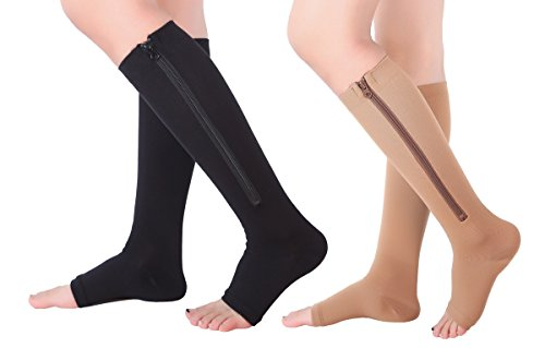 2 Pairs Open Toe Knee Length Zipper Compression Socks 15-20 mmHg Support 3 SizeassortedXXL