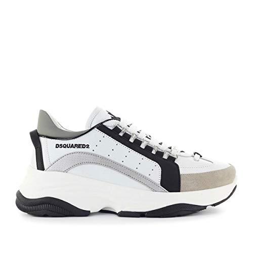 Dsquared2 Sneakers Bumpy 551 Vitello Texture GOMMATO Nero Bianco Argento