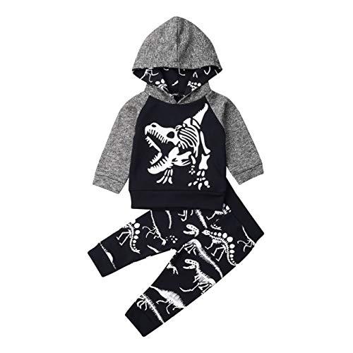 Conjunto de ropa para bebé y niño con estampado de dibujos animados de manga larga y capucha + pantalones de camuflaje 2 unidades para primavera y otoño Dinosaurio gris. 2-3 Años