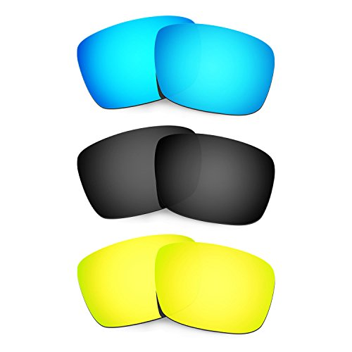 HKUCO Plus Mens Replacement Lenses For Oakley Fuel Cell Blue/Black/24K Gold Sunglasses