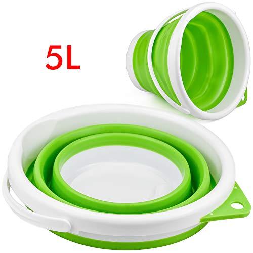 Zaleonline Faltbarer Plastikeimer 5 Liter Falteimer Zusammenklappbar Putzeimer für Reinigung Camping Angeln Küche