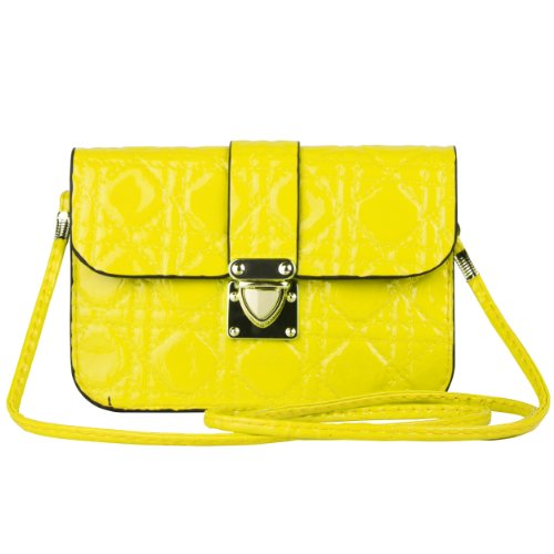 SumacLife Quilt Design Universal Leather Bag with Removable Shoulder Strap for Smartphones - Retail Packaging - Yellow