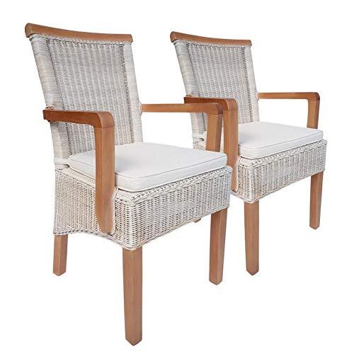 Soma eetkamerstoelen set met armleuningen 2 stuks rotan stoel wit Perth met/zonder zitkussen linnen wit (BxHxL) 57 x 97 x 57 cm met zitkussen