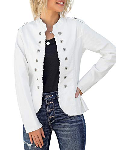 GRAPENT Women's White Casual Buttons Down Pockets Open Front Denim Jacket Coat Size Medium