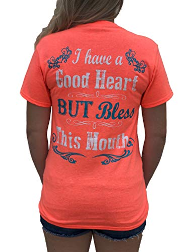 Southern Attitude I Have a Good Heart But Bless This Mouth Heather Coral Funny Women's T-Shirt (X-Large)