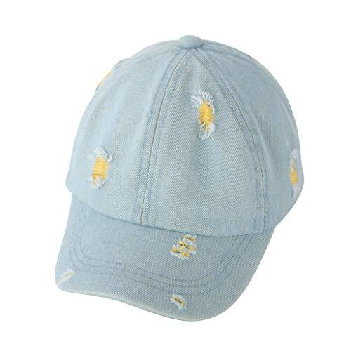 Voberry- Chapeau de soleil en denim effiloché pour enfants Mode Enfants Edge Cowboy Sunscreen Sunscreen Baseball Hat Cap