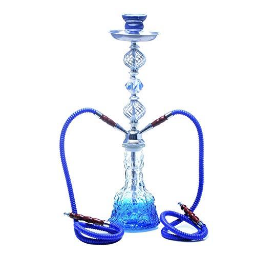 Overvloedi Pipa de cachimba shisha pipa con cuenco de cerámica pinzas de carbón doble manguera de cristal artesanías accesorios de vidrio pipa de cachimba azul