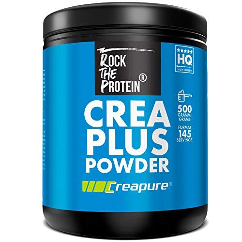 Creatina Monoidrata in Polvere Rock The Protein  500g di Creatina Creapure Micronizzata per Sviluppo Muscolare  Ottima Solubilità, inodore, insapore