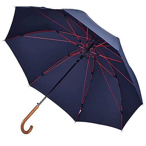 【台風・豪雨対応】Anntrue 傘 メンズ 長傘 木製ハンドル 台風対応 丈夫 強風 撥水 豪雨対策 紳士傘 大きい ジャンプ傘 収納ポーチ付き 通勤 ブルー