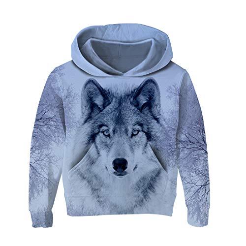 AIDEAONE Jungen Mädchen realistische 3D Print Wolf Pullover Hoodie Sweatshirts Taschen für Teens-Jumper 11-13Y