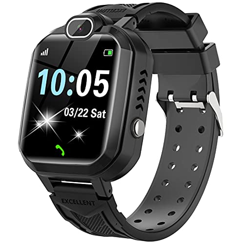 INIUPO Smart Watch for Boys and Girls - Kids Smartwatches with 7 Games Music Player Camera Alarm Clock Calculator Calendar Touch Screen Children Wrist Watch Gifts for 4-12 Years Old (Black)
