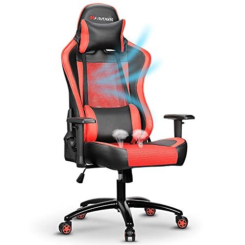 mfavour Gaming Stuhl Bürostuhl Schreibtischstuhl Ergonomischer Mesh Racing Stühle Computerstuhl mit Einstellbarer Höhe, Kopfstütze und Lordosenstütze (rot)