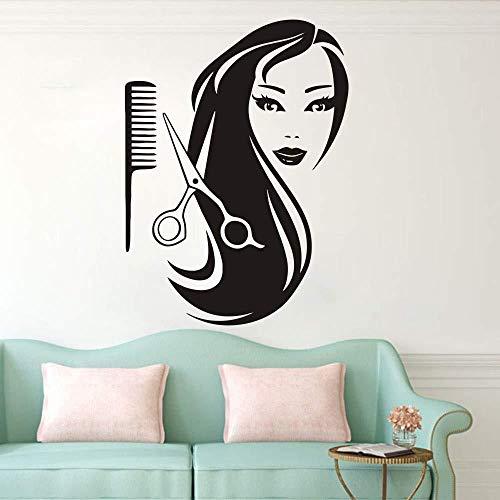 Mädchen Kamm Schere Friseursalon Indoor Wohnzimmer Schlafzimmer abnehmbare Wandaufkleber Wandbild 108x70cm