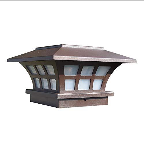 Aaedrag Villa Europea Simple Patio Lámpara Solar Marrón Columna Faro Linterna Jardín Valla Europea Poste Luces montadas en la Pared Pilar de Pared al Aire Libre Lámpara Decorativa Impermeable