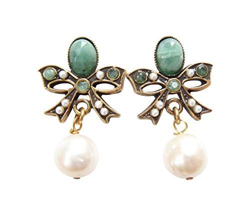 Stilvolle Schleifen-Ohrclips Clips Smaragd-Steine grün Süßwasser-Perlen weiß Hänger Messing vergoldet Handarbeit Italien Unikat Vintage Geschenk Luxus