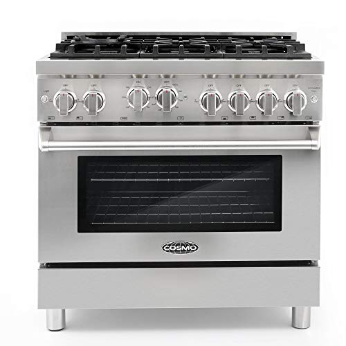 Cosmo GRP366 36 in. Freestanding Gas Range with 6 Sealed Burner Rangetop, Single Convection Oven, Cast Iron Grate Cooktop Wok Attachment, Metal Stove Heat Control Knobs, Stainless Steel