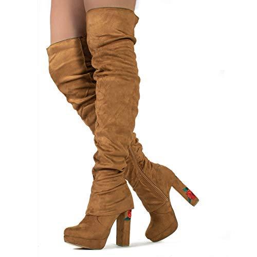3f606e9258a RF ROOM OF FASHION Women Fashion Comfy Vegan Suede Block Heel Side Zipper Thigh  High Over