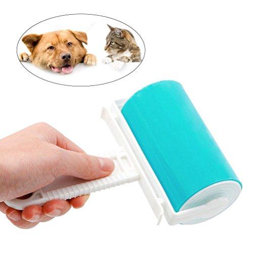 UEETEK Pet Hair Fluff Dust Remover Set de nettoyant à Rouleaux de Peluches Autocollants réutilisables Lavable (Bleu)