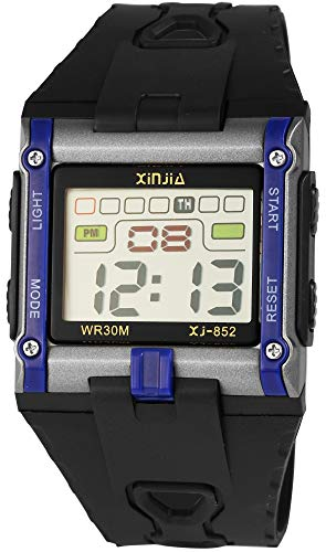 XINJIA - Reloj de Pulsera para Hombre (Digital, Fecha, Alarma, luz, plástico, Silicona, Cuarzo), Color Negro y Azul