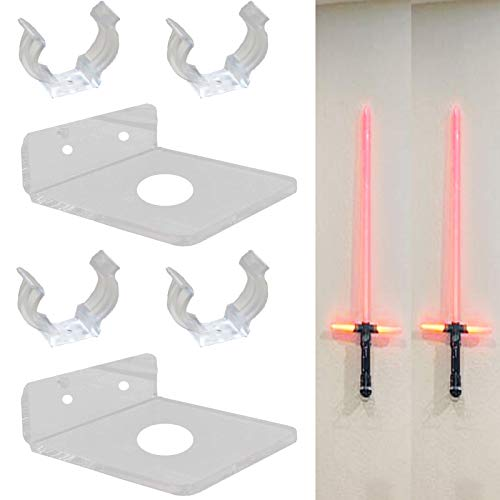 Pmsanzay 2 Pack, Universal  Clear Acrylic Rack  Lightsaber Display Wall Mount Light Saber Wall Rack Lightsaber Laser Sword Light Saber Wall Holder LED Light Saber Stand - Hardware Included.