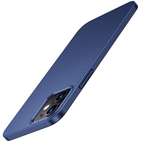 TORRAS Dünn Hülle Kompatibel mit iPhone 12 Pro & iPhone 12 (Hülle mit 2X Schutzglas) Slim Handyhülle Matte Hardcase mit Bildschirmschutz Schutzhülle (Blau)