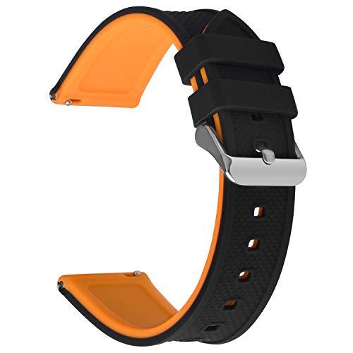 Fullmosa Silikon Uhrenarmband 22mm mit Schnellverschluss in 8 Farben, Regenbogen Weich Silikon Uhrenarmband mit Edelstahlschnalle,22mm Schwarz+Kürbisorange