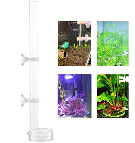 Fashionclubs Acrylic Shrimp Feeder Tube Feeding Dish Bowls for Fish Tank Aquarium Shrimp Fish, with 2 Suction Cups