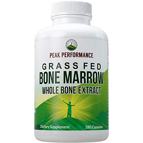 Grass Fed Bone Marrow - Whole Bone Extract Supplement 180 Capsules by Peak Performance. Superfood Pills Rich in Collagen, Vitamins, Amino Acids. from Bone Matrix, Marrow, Cartilage. Ancestral Tablets