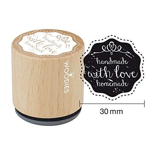 Woodies Stempel Handgemaakt met Liefde Zelfgemaakte ø 30 mm, Hout, Bruin, 5 x 5 x 5 cm