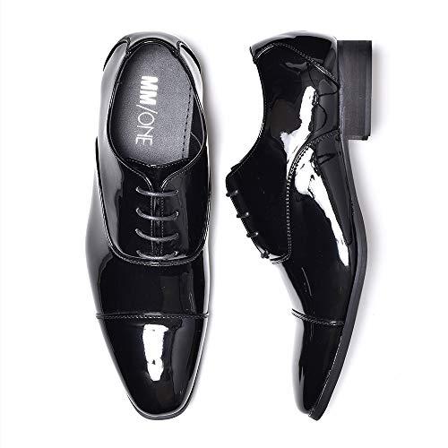 [エムエムワン] ビジネスシューズ メンズ 大きいサイズ 28.5cm から 30.0cm エナメル レースアップ 内羽根 ストレートチップ 紳士靴 短靴 MPT123-1-KG 黒 ブラックエナメル 29.5cm BZB004 1